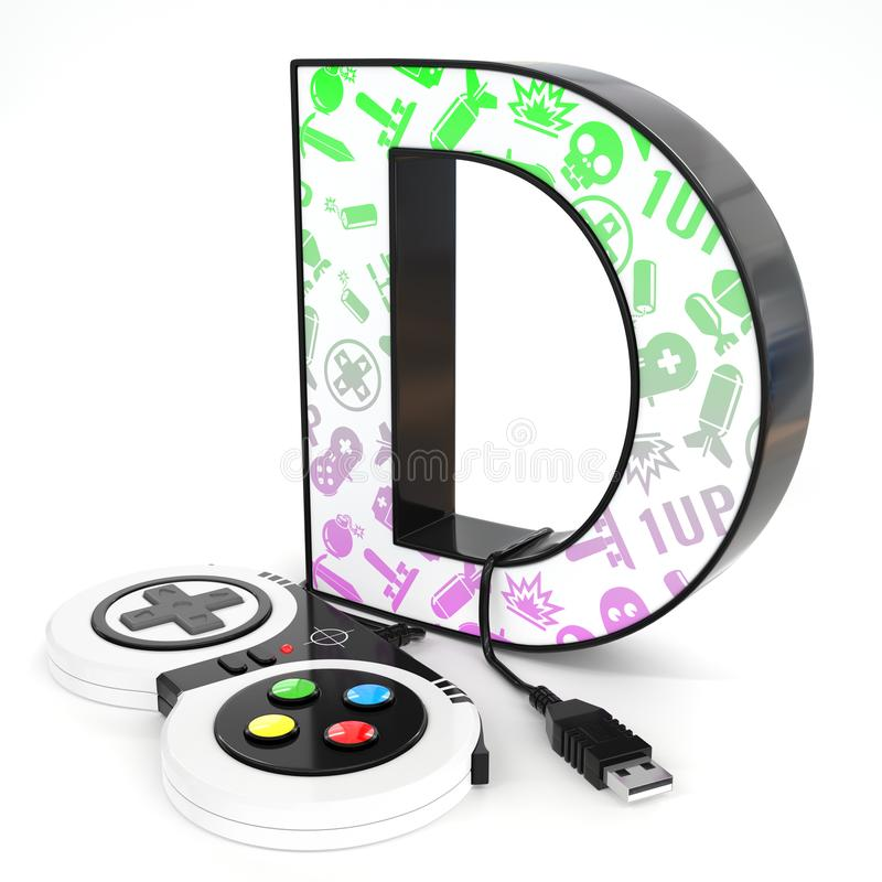 `D` 3d letter with video game controller. Green and purple video game icons painted over `D` 3d letter with video game controller stock illustration