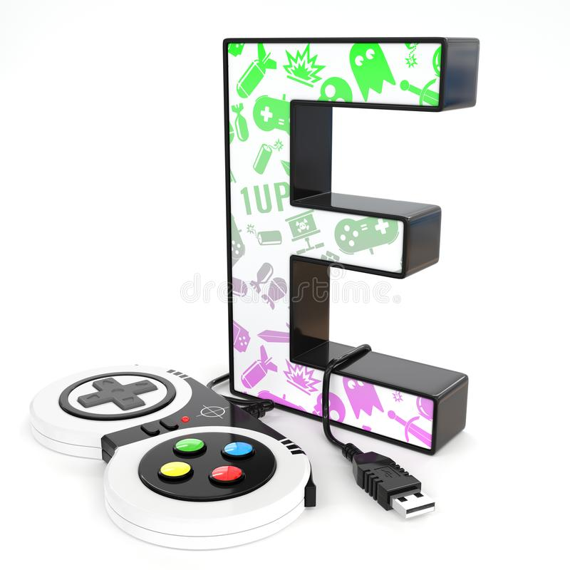 `E` 3d letter with video game controller. Green and purple video game icons painted over `E` 3d letter with video game controller royalty free illustration