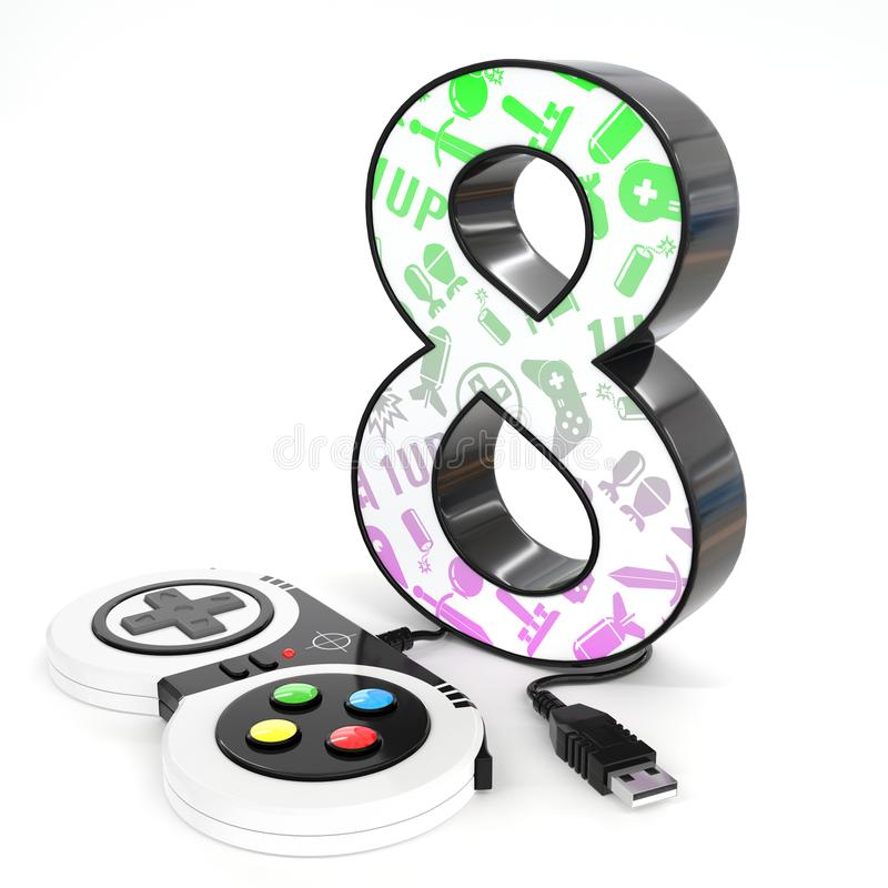 `eight` 3d number with video game controller. Green and purple video game icons painted over `eight` 3d number with video game controller royalty free illustration