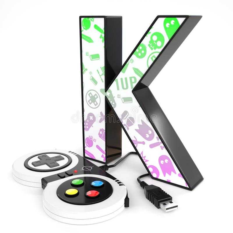 `K` 3d letter with video game controller. Green and purple video game icons painted over `K` 3d letter with video game controller stock illustration