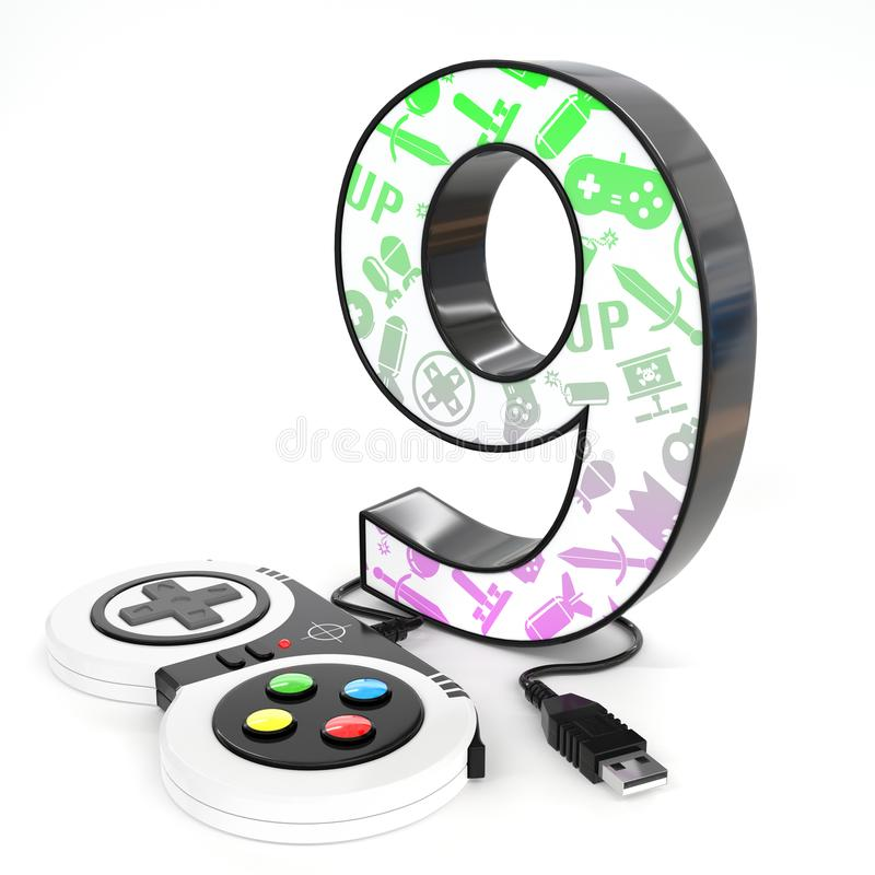 `nine` 3d number with video game controller. Green and purple video game icons painted over `nine` 3d number with video game controller stock illustration