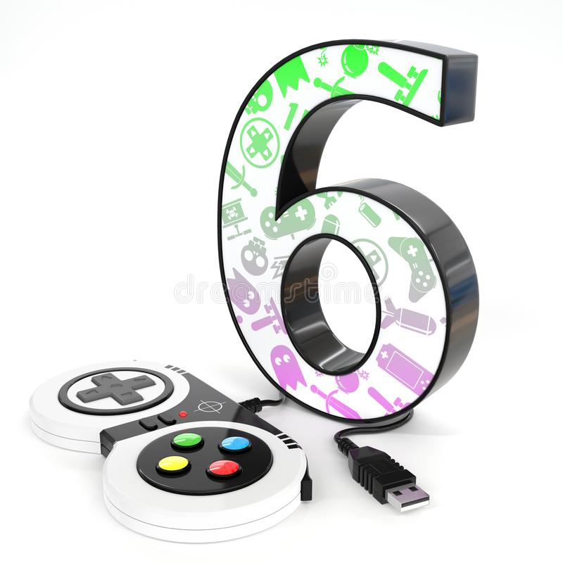 `six` 3d number with video game controller. Green and purple video game icons painted over `six` 3d number with video game controller royalty free illustration