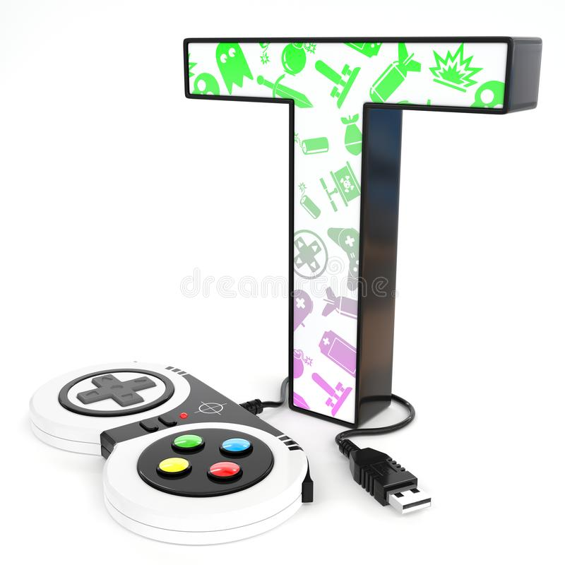 `T` 3d letter with video game controller. Green and purple video game icons painted over `T` 3d letter with video game controller vector illustration