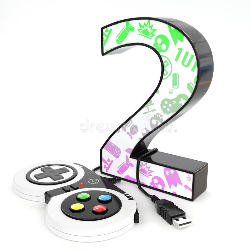 `two` 3d number with video game controller. Green and purple video game icons painted over `two` 3d number with video game controller stock illustration