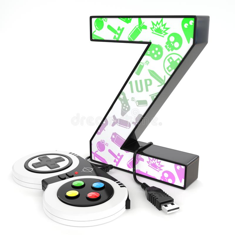 `Z` 3d letter with video game controller. Green and purple video game icons painted over `Z` 3d letter with video game controller vector illustration