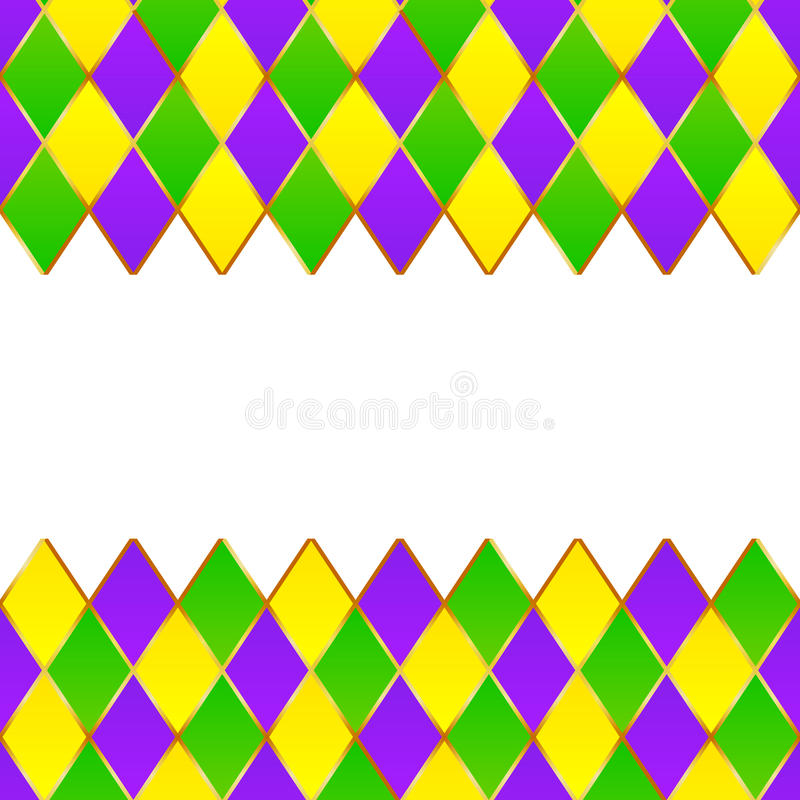 Green, purple, yellow grid Mardi gras frame stock illustration