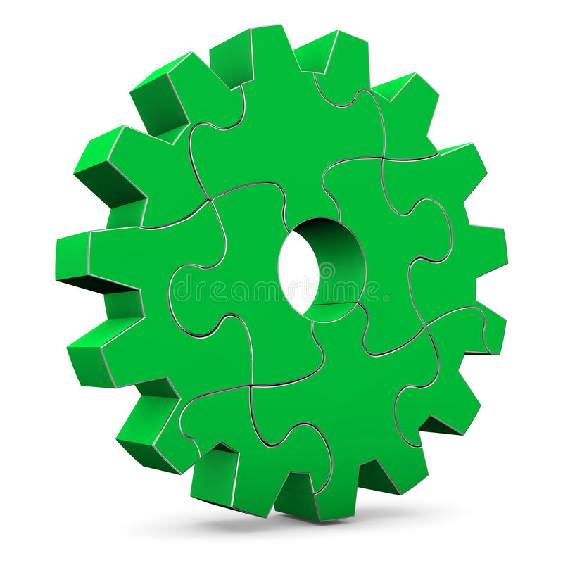 Green Puzzle Gear Wheel. On the white background vector illustration