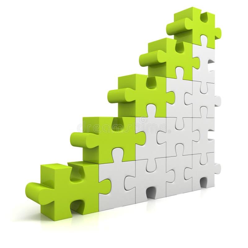 Green puzzle success business bar chart diagram. 3d stock illustration