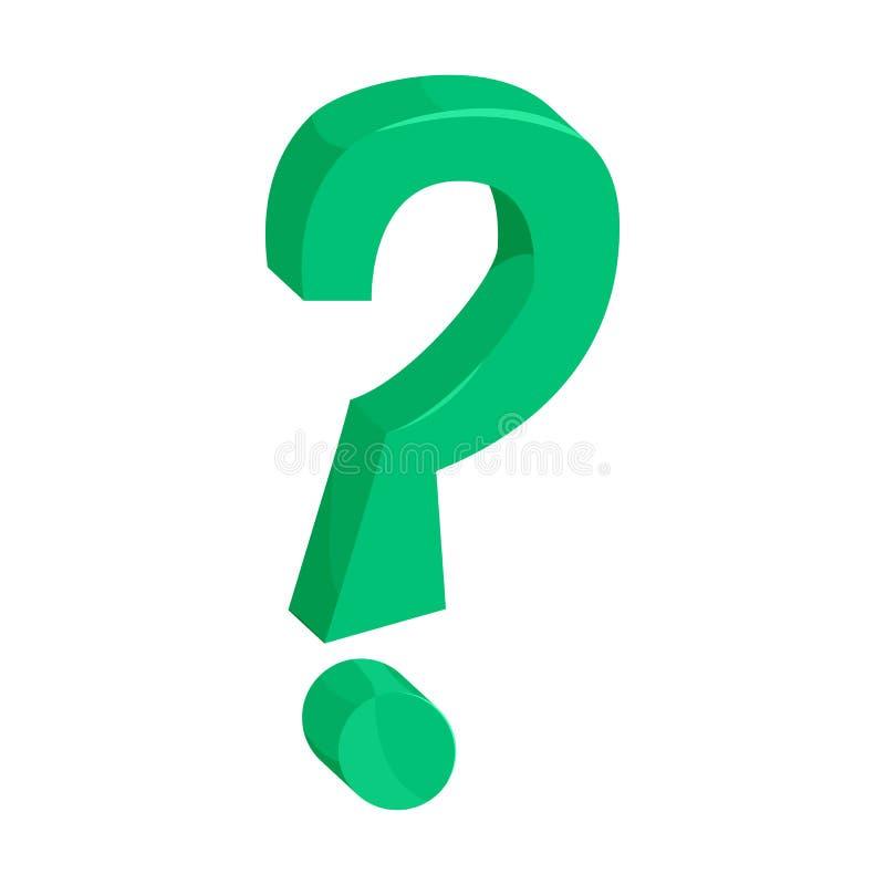 Green question mark icon, cartoon style vector illustration