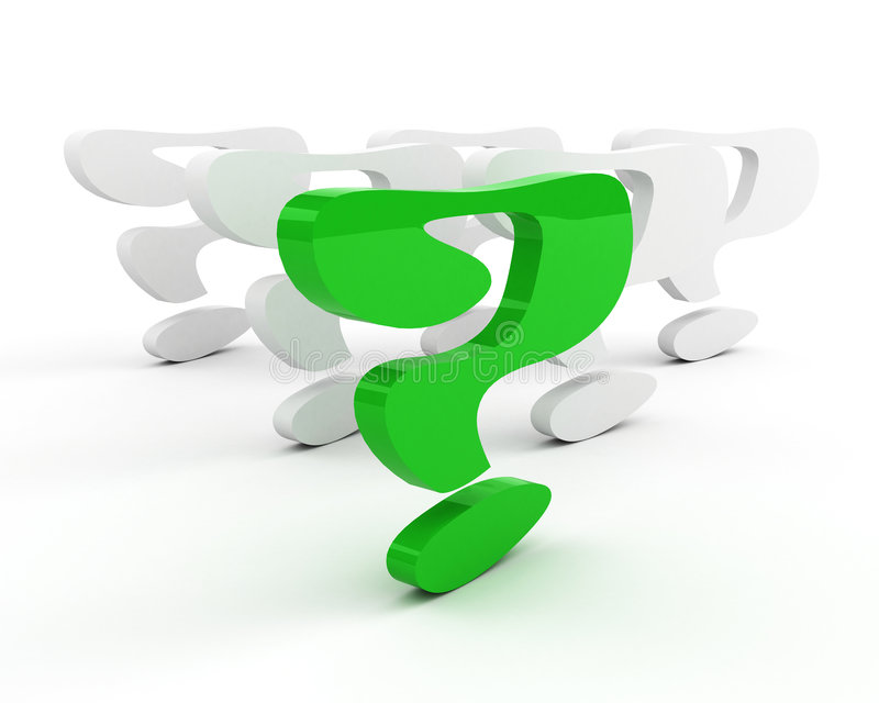 Green question-mark. leadership concept stock illustration