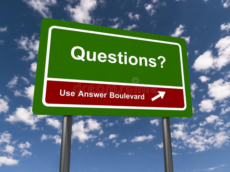 Questions guidepost. A green questions guidepost with the sky in the background vector illustration