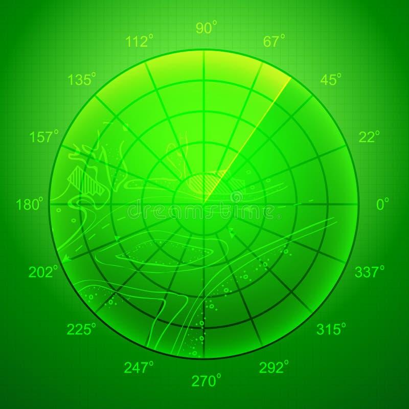 Green radar screen. royalty free illustration