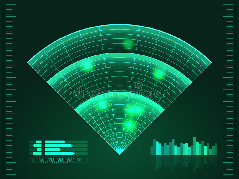 Green radar screen. Vector illustration for your design. Technology background. Futuristic user interface. HUD. Vector EPS10 royalty free illustration