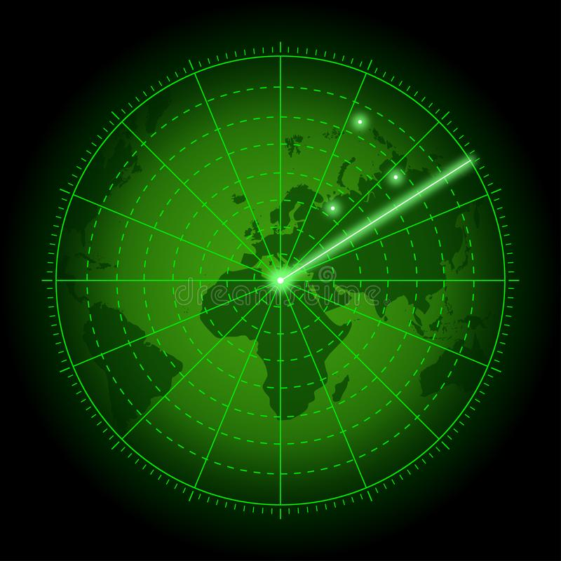 Green radar screen with world map. Background of air search system with blip. Vector. vector illustration