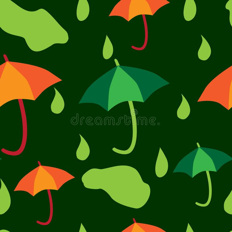 Green rain orange umbrellas, seamless pattern royalty free stock photo
