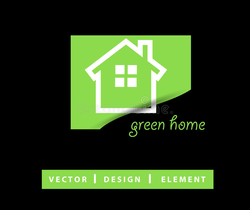 Green Real estate logo design vector. Isolated on black background royalty free illustration