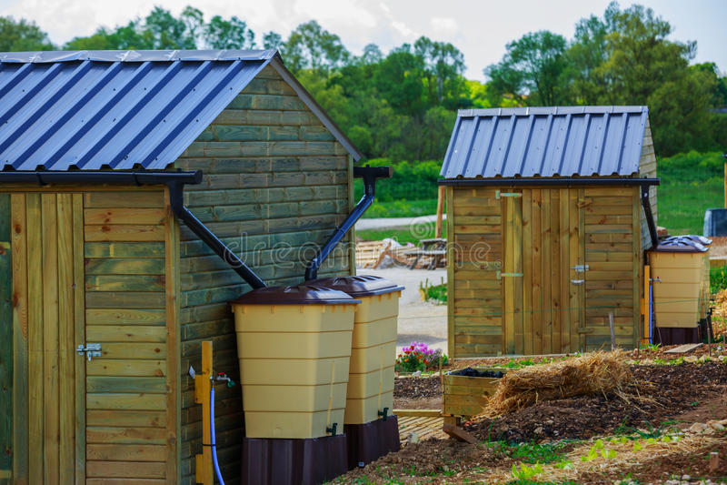 Green recovery of rainwater outside in town garden with small wo royalty free stock image