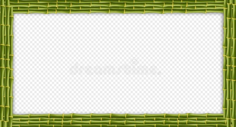 Green rectangle bamboo sticks signboard with copy space stock illustration