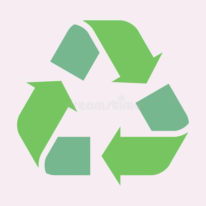 Green recycle arrow icon. Vector sign illustration EPS 10. Isolated on white background stock illustration