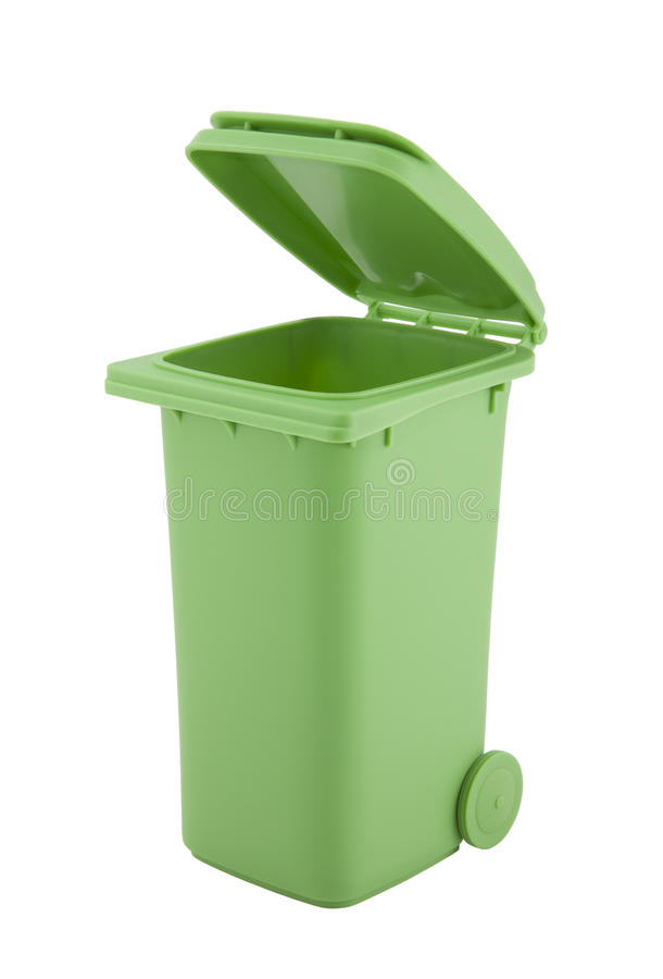 Green recycle bin isolated on white background. With clipping path stock image