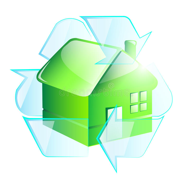 Green recycle house stock illustration