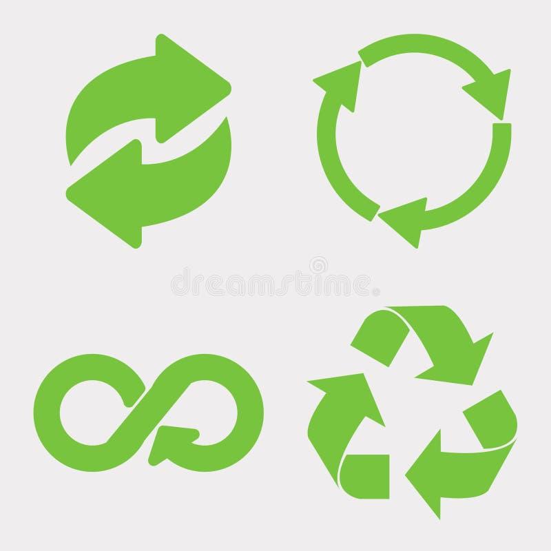 Green recycle icon. Set. Eco cycle arrows - vector vector illustration