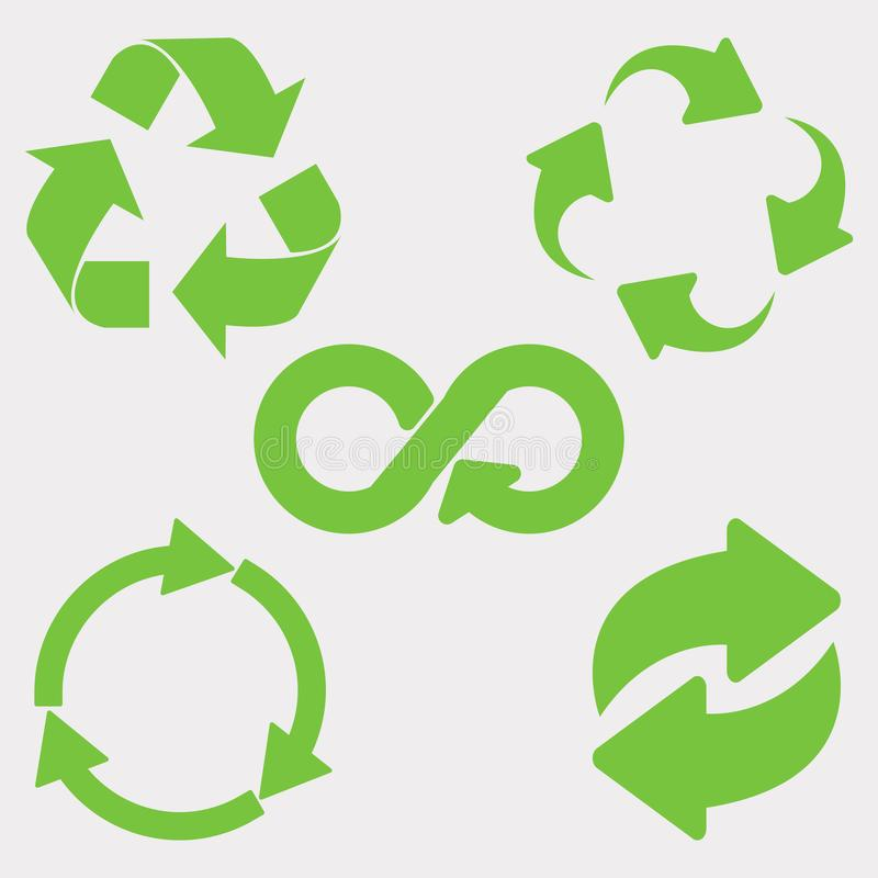 Green recycle icon. Set. Eco cycle arrows - vector royalty free illustration
