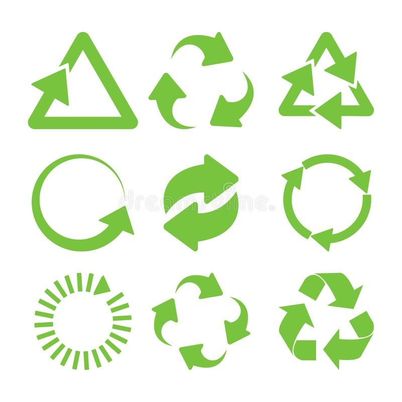 Green recycle icons. Set. Eco cycle arrows - vector vector illustration