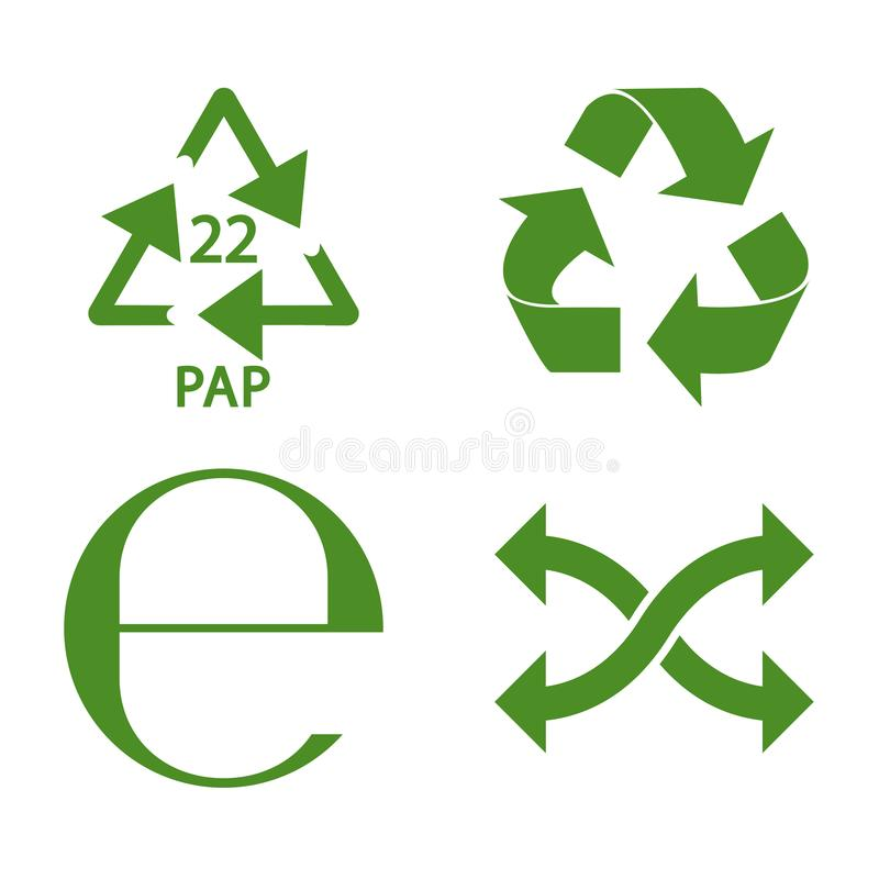 Green recycle and packaging icon set vector. Design royalty free illustration