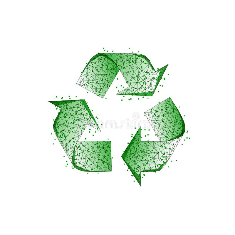 Green recycle sign made of lines, dots, triangles, low poly shapes isolated on white background. Green recycle sign made of lines, dots, triangles, low stock illustration