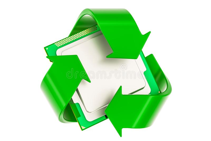 Green recycle symbol with CPU computer processor unit, 3D render. Green recycle symbol with CPU computer processor unit, 3D royalty free illustration