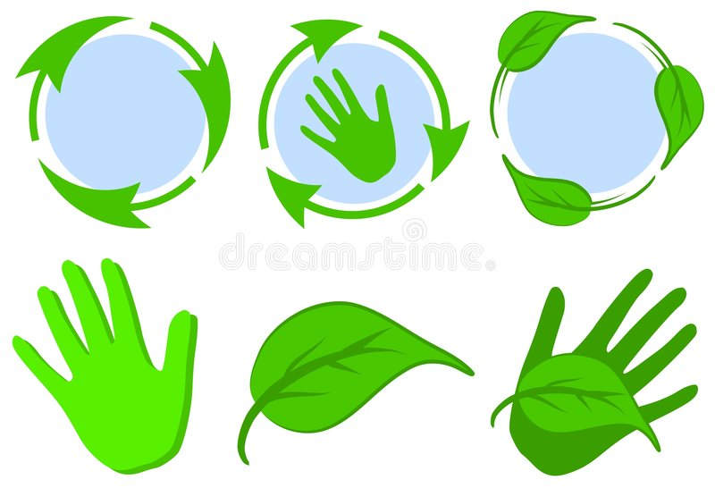 Green Recycle Symbols Leaves Hands stock illustration