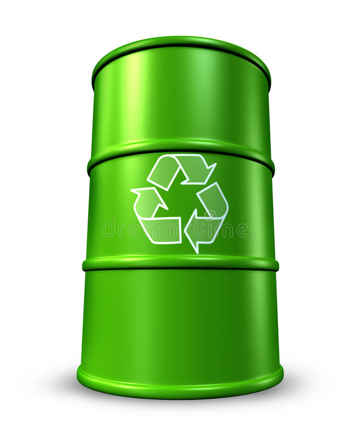 Green recycling barrel in oil drums stock illustration