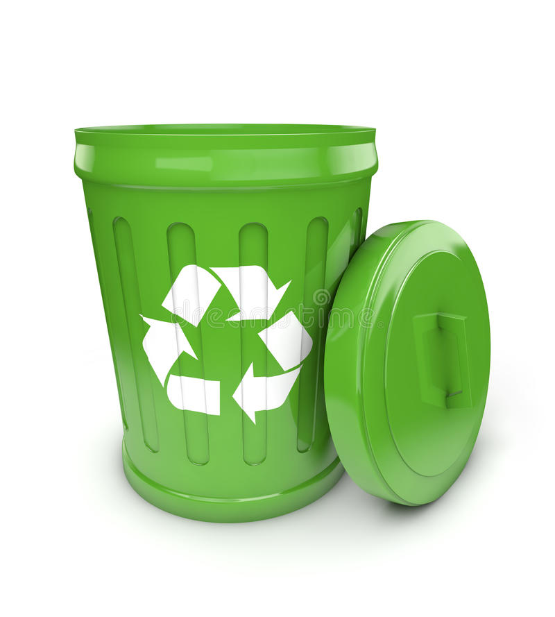 Green recycling bin. White background stock illustration