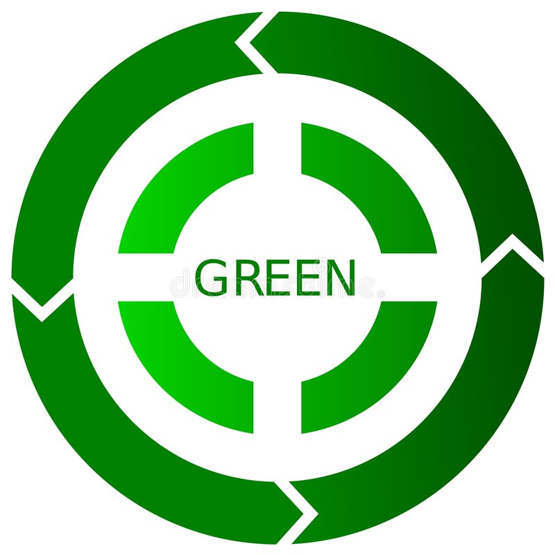 Green Recycling Button Icon Stock Photography