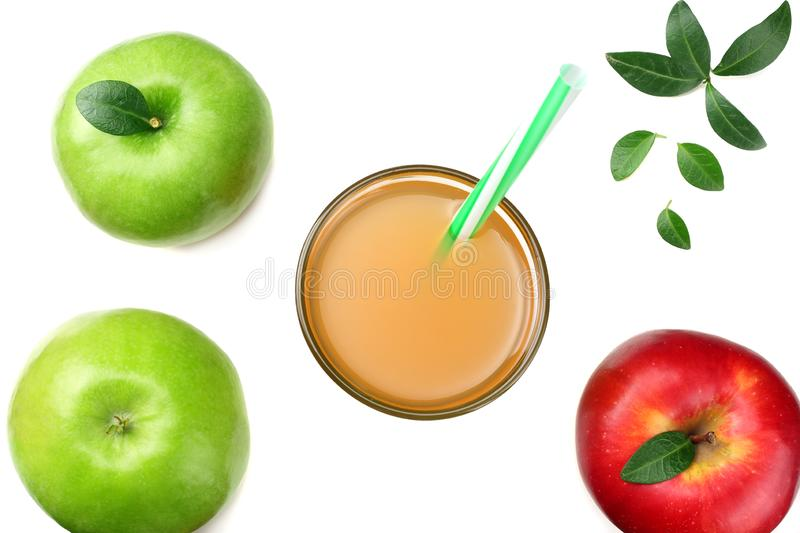 Green and red apples with apple juice isolated on white background. top view stock photos