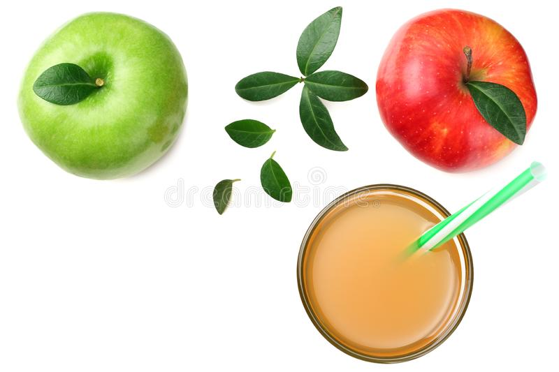 green and red apples with apple juice isolated on white background. top view stock image