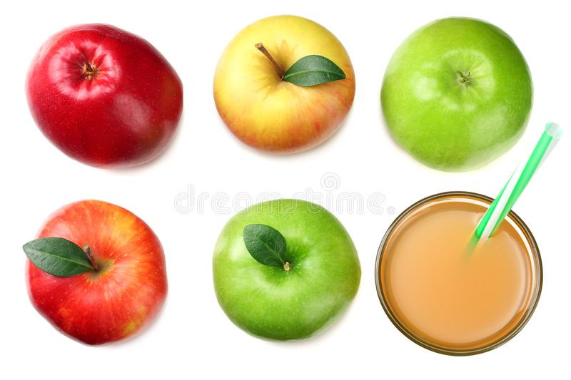 Green and red apples with apple juice isolated on white background. top view royalty free stock image