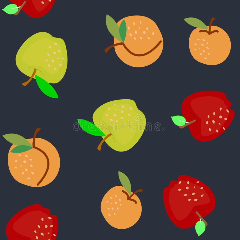 Green and red apples with apricot seamless pattern. Vector illustration stock illustration