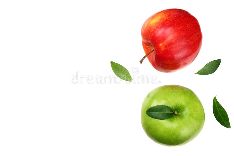 green and red apples isolated on white background. top view stock photos