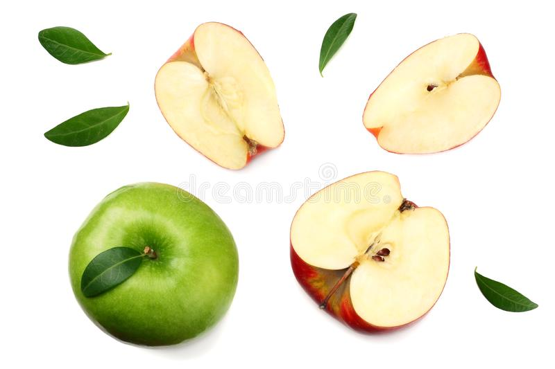 green and red apples with slices isolated on white background. top view stock photo