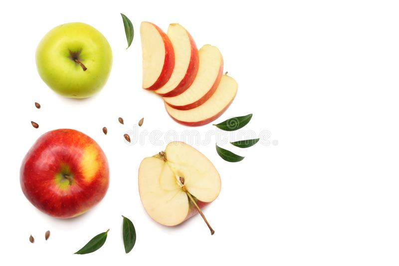 green and red apples with slices isolated on white background. top view stock photos