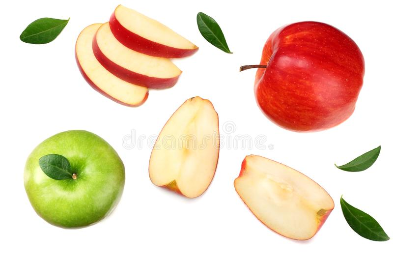 green and red apples with slices isolated on white background. top view royalty free stock photos