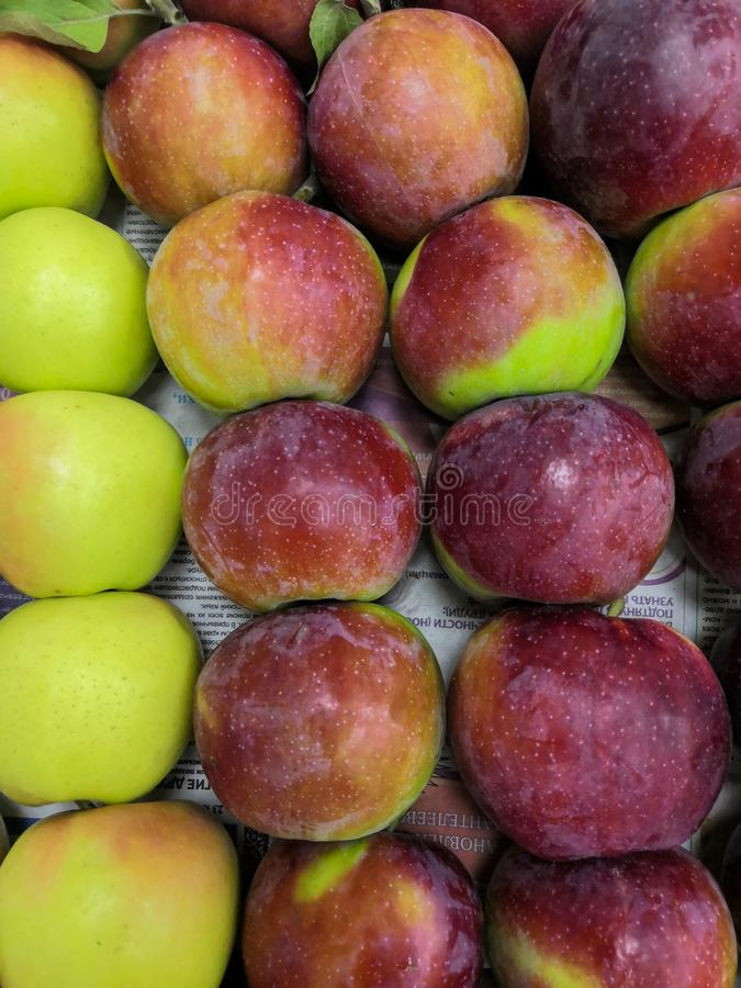 Green red apples delicious juicy fresh fruit background stock photography