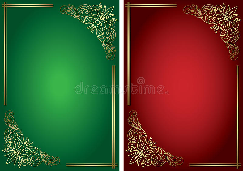 Green and red vector backgrounds with golden decor royalty free illustration
