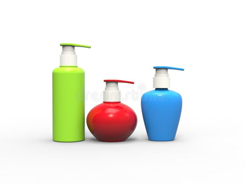 Green, Red and blue beauty creme bottles. White, red and green plastic unlabled tube containers - isolated on white background royalty free illustration