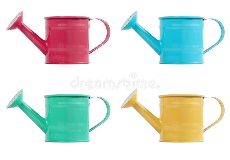 Green red blue yellow color gardening watering pot royalty free stock photo