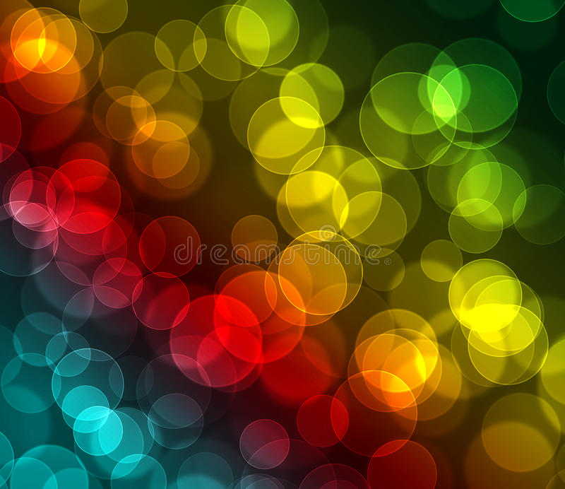 Green red blue yellow colored bokeh background stock images