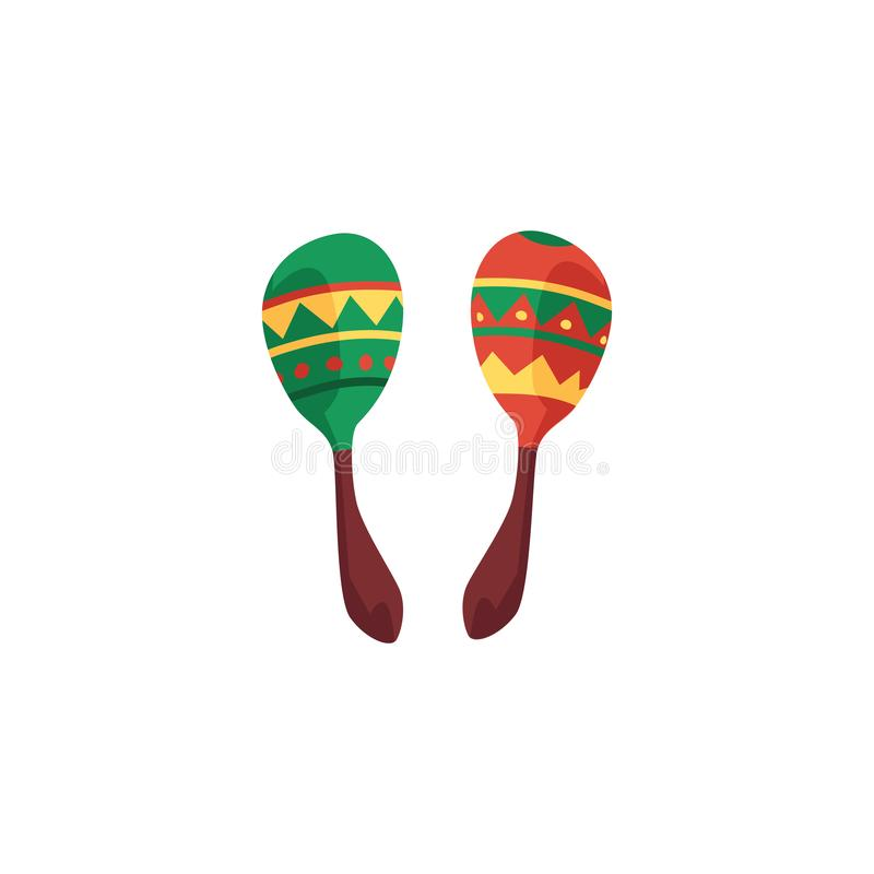 Green and red cartoon maracas - colorful Mexican music instrument stock illustration