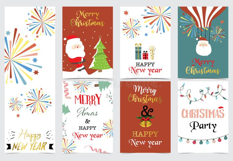 Green red christmas card with christmas tree,sock,gift,balloon,light,firework and santa claus vector illustration